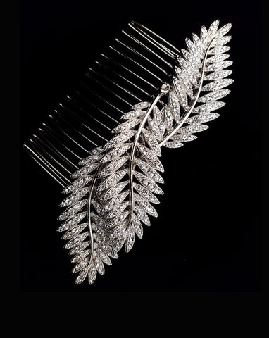 wedding headpiece - cystal leaf comb for side style or veil comb - Silver Fern by Stephanie Browne