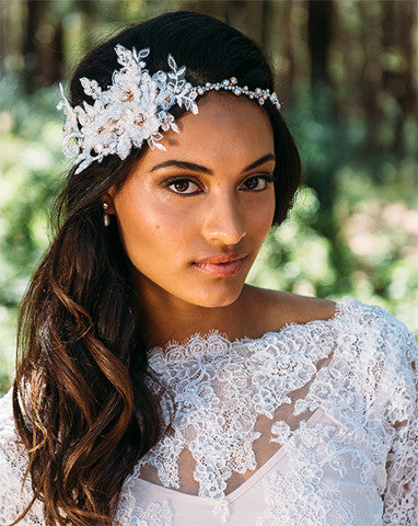 Bridal headpiece - pearl and crystal band with lace boho style - Brodie by Kezani - Kezani Jewellery - 1