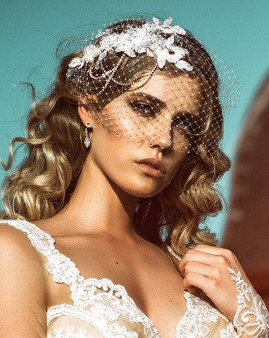 wedding lace headpiece with birdcage veil harlow by kezani jewellery