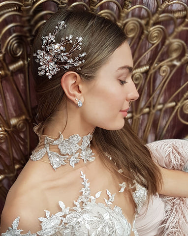 Bridal headpiece - BEST SELLER crystal vine style comb - Claire B by Kezani