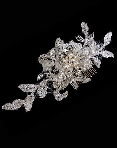 Bridal headpiece - BEST SELLER- pearl flower with lace comb - Harlow small by Kezani - KEZANI JEWELLERY - designer bridal jewellery and wedding accessories - 1