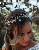 wedding headpiece - crystal hairvine for braid or crown - Wild Ivy by Kezani as a crown