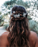 wedding headpiece - crystal and pearl flower pins/comb with vintage leaves - Jessica hairpins by Kezani