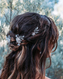 wedding headpiece - crystal and pearl flower pins/comb with vintage leaves - Jessica hairpins by Kezani -side view