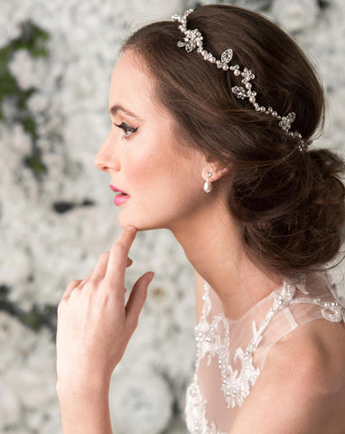 Bridal headpiece - pearl flower hairvine - Sierra deluxe by Kezani
