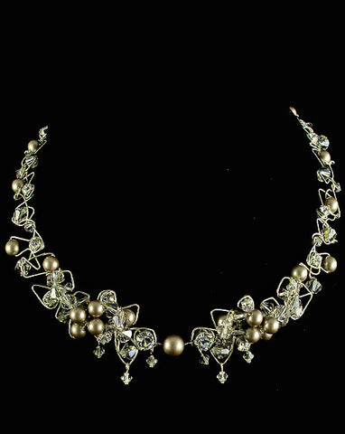 Wedding necklaces - soft statement pearl and crystal  - Avalon by Kezani - Kezani Jewellery - 1