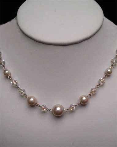 Wedding necklaces - subtle pearl with a touch of crystal  - Christelle by Kezani - Kezani Jewellery