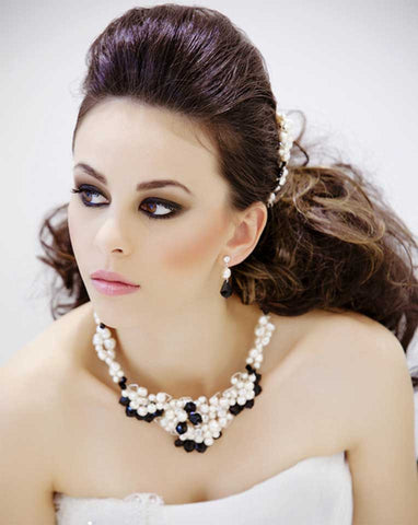 Wedding necklaces - encrusted pearl with baroque crystals - Angelique by Kezani - Kezani Jewellery - 1