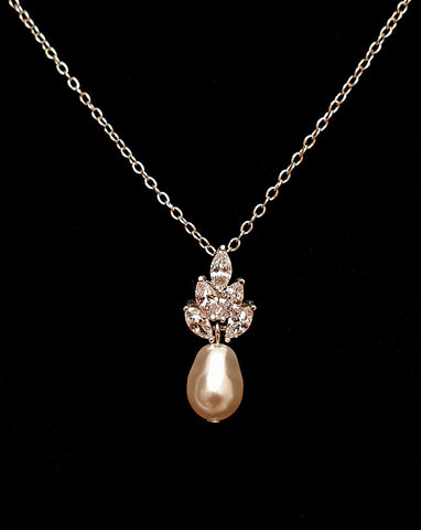 wedding necklace - crystal with drop pendant - Bocheron pearl by Stephanie Browne at Kezani