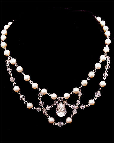 Wedding necklaces - pearl drape with pear crystal - Josephine by Kezani - Kezani Jewellery - 1