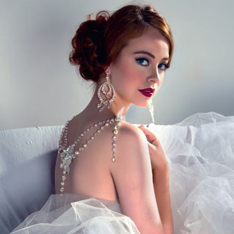 Wedding back jewellery - vintage style with pearl and crystal drape - Gracie by Kezani - Kezani Jewellery - 1
