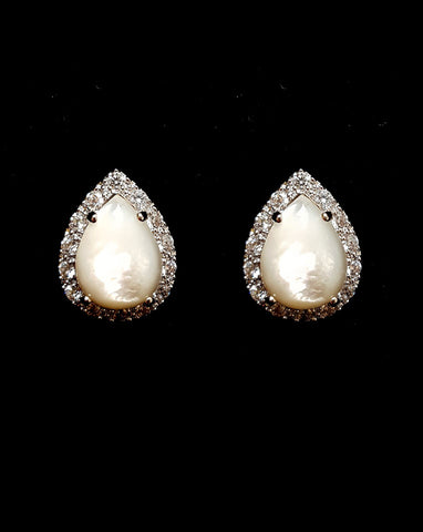 Bridal earrings - Mother of pearl pear stud with crystal halo - Mae studs by Stephanie Browne