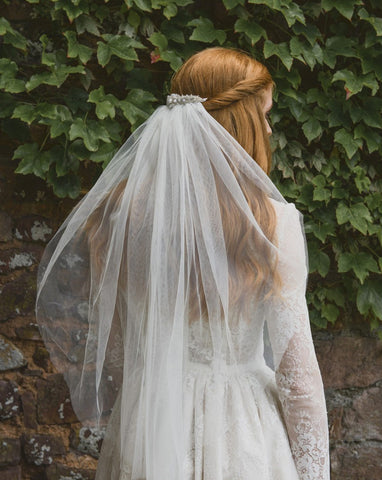 wedding veil - waist length raw cut with silver beaded headpiece - Hyacinth