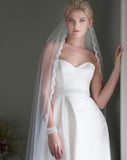 Veil - chapel length single tier wedding veil with dainty lace edge - Beauty