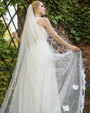 wedding veil -Lunaria -lace edge and motifs - train length - at Kezani Jewellery Perth Australia