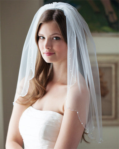 Wedding Veil - one tier scallop bead edge - Whisper - Kezani Jewellery