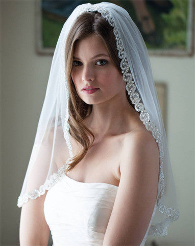 Wedding Veil - one tier silver bead edge - Harmony - Kezani Jewellery