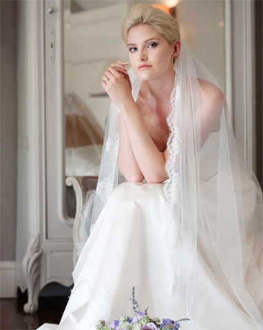 Veil - full length with chantilly lace trim - Spellbinder - Kezani Jewellery - 1