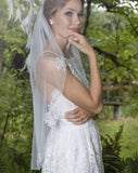 wedding and bridal veil -one tier - waist length - lace scatters - cosmos by Rainbow - at kezani Jewellery