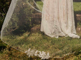 wedding veil - chapel length single tier with lace detail - Winteberry 3