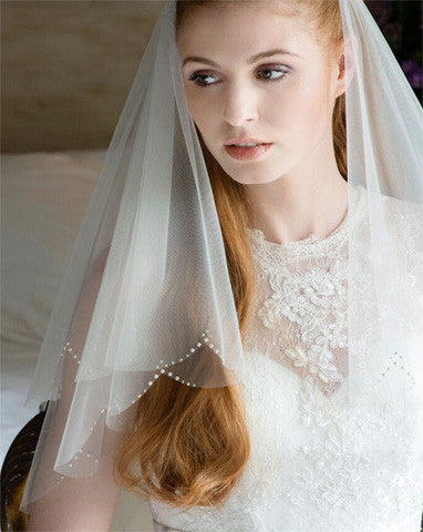 Veil - waist length circular wedding veil with pearl crystal scallop - ziva - Kezani Jewellery - 1