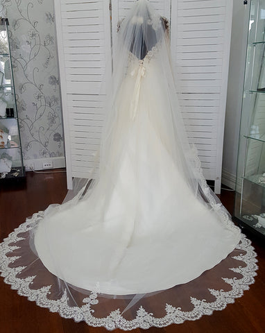 Veil - train length one tier border scallop lace trim wedding veil - Josephine