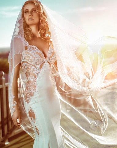wedding veil - moonshine train length with lace motifs