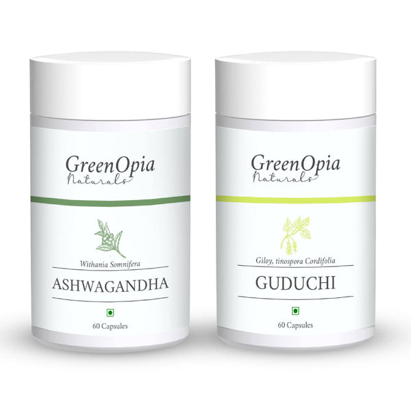 Ashwagandha and Guduchi (Giloy) Vegan Supplement - GreenOpia