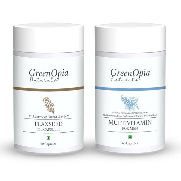 Flaxseed Oil and Multivitamin for Men Vegan Supplement - GreenOpia