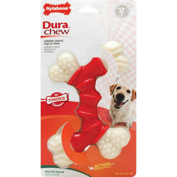 Nylabone - Dura Chew Bended Double Bone Toy for Dogs (Bacon)