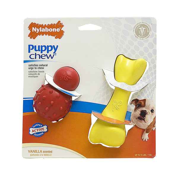 Nylabone - Puppy Chew Rubber Play Pack (Vanilla)