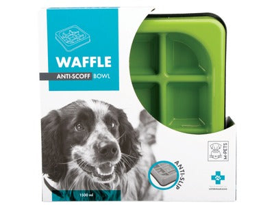 M-Pets - Slow Feed Anti-Scoff Waffle Dog Food Bowl (Green)