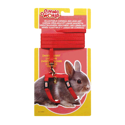 Living World - Dwarf Rabbit Adjustable Harness and Lead Set (Red)