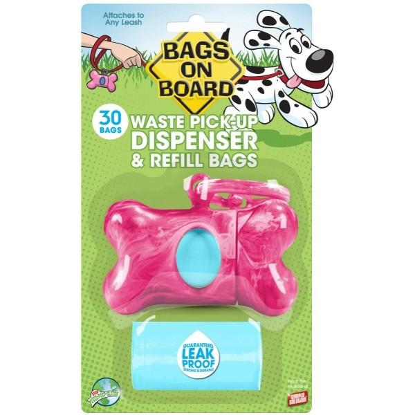 Bags On Board - Waste Pick-Up Dispenser + Refill Bags (Marble Pink)