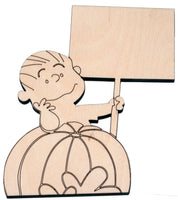 Linus with sign (Great Pumpkin) cutout - Bucktooth Designs
