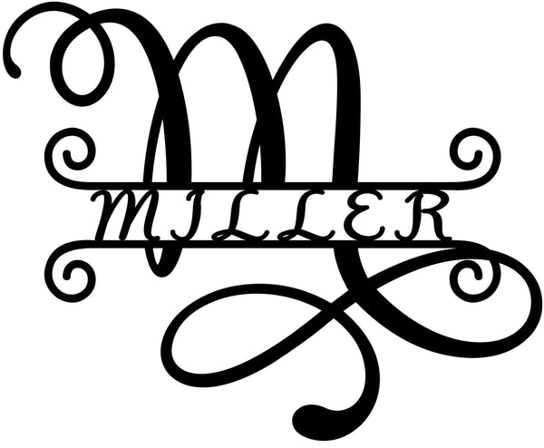 Swirl Single leter Monogram with name in the middle - Bucktooth Designs