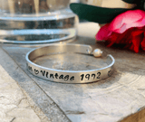 Personalized Hand stamped birthday bracelet, Vintage aged to perfection, engraved cuff,