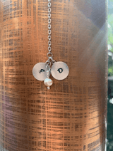 Personalized Silver Heart Lariat Necklace with Monogram Kids Initials