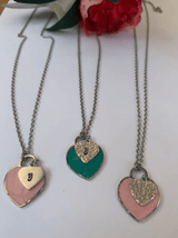 Personalized Heart Necklace, heart charm Pink Enamel, green enamel, initial necklace