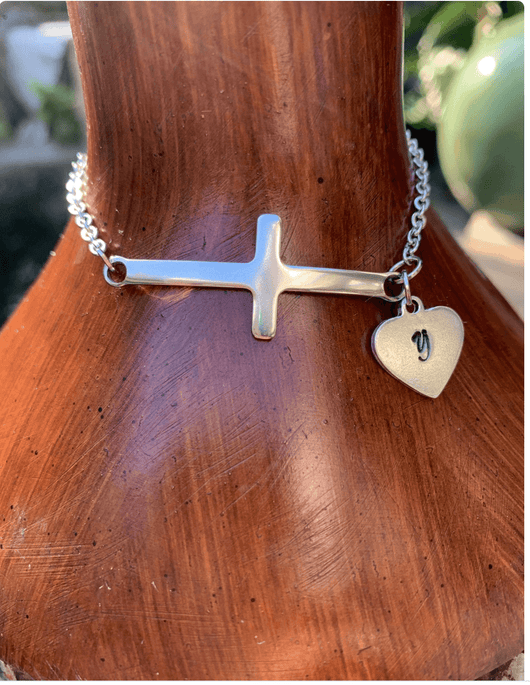 Personalized sideway Cross bracelet with name initial