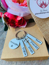 Grandpa, Grandma, Mom, Dad keyring, Personalized Name Keyring