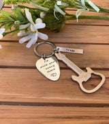 Personalized Guitar Beer Bottle Opener and Guitar Pick with Name Personalization Keychain
