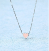 Delicate Tiny Heart Enamel charm Necklace, dainty small blue, green, pink, red enamel