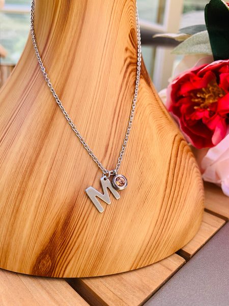 Initial Necklace, Stainless Steel Alphabet Necklace, Birthstone Necklace, Personalized Initial Necklace