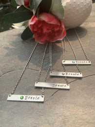 Personalized name monogram bar necklace, birthstone necklace