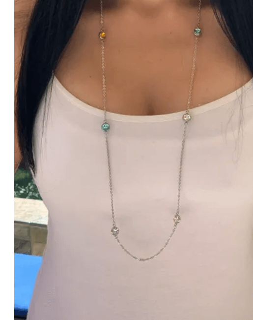Long crystal necklace, Long layering necklace