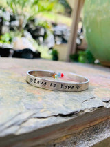 Personalized love is love bracelet, pride bracelet, custom proud bracelet, hand stamped cuff bracelet