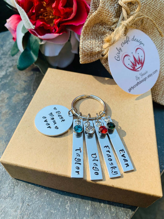 Best mom, Best Dad, Best Grandpa, Best Grandma keyring, personalized name keyring
