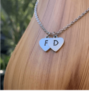 Initial heart necklace, personalized initial necklace