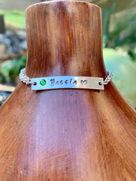 Personalized Nameplate Bar Bracelet, Couple Initials Bracelet, Birthstone Bracelet